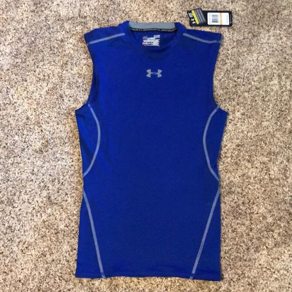 6bb727c3 Under Armour Sleeveless Compression Shirt Blue Sm NWT